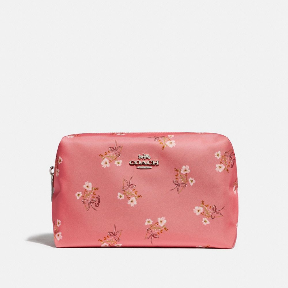 bright coral/floral bow/silver