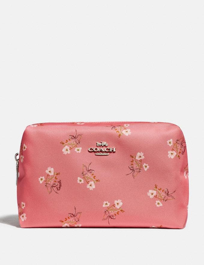 Coach Large Boxy Cosmetic Case With Floral Bow Print Bright Coral/Floral Bow/Silver 30% off Select Full-Price Styles
