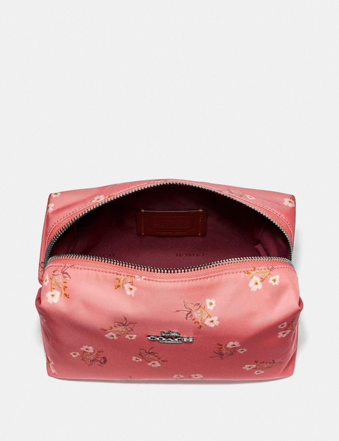Coach Large Boxy Cosmetic Case With Floral Bow Print Bright Coral/Floral Bow/Silver 30% off Select Full-Price Styles Alternate View 2