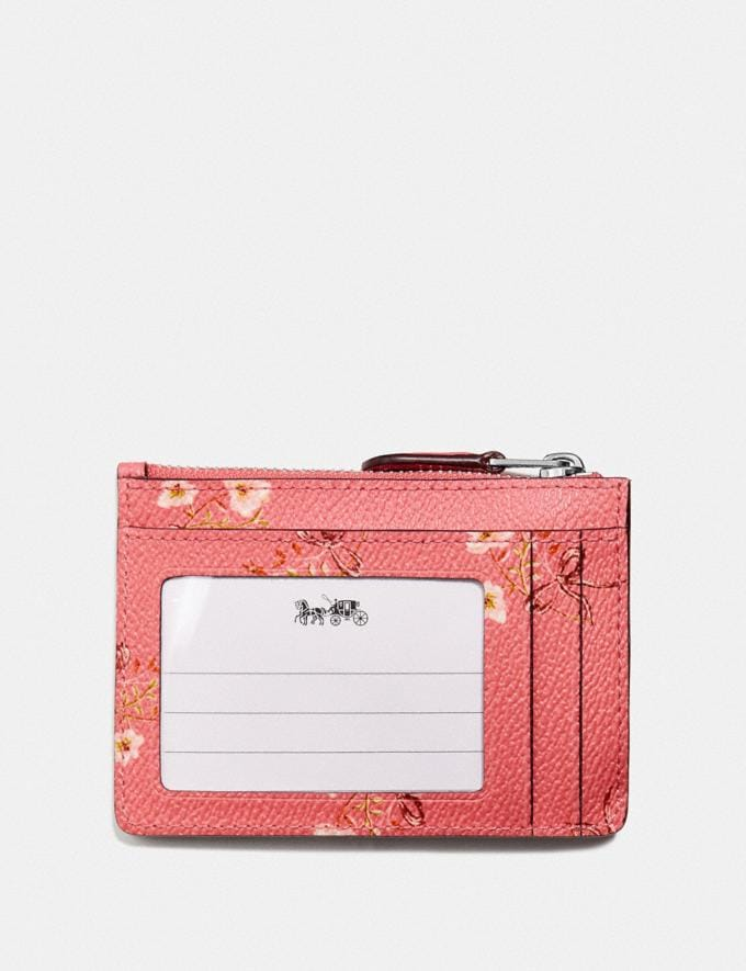Coach Mini Skinny Id Case With Floral Bow Print Bright Coral/Floral Bow/Silver  Alternate View 1