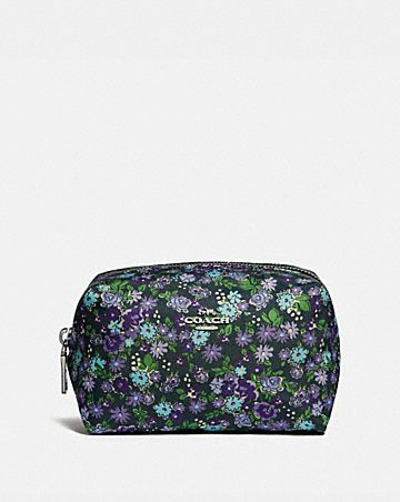 SMALL BOXY COSMETIC CASE WITH POSEY CLUSTER PRINT