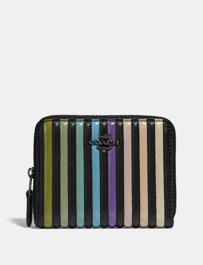 Coach Small Zip Around Wallet With Ombre Quilting Black Multi/Gunmetal Women Small Leather Goods Small Wallets