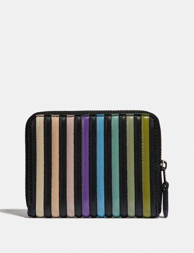 Coach Small Zip Around Wallet With Ombre Quilting Black Multi/Gunmetal Women Small Leather Goods Small Wallets Alternate View 1