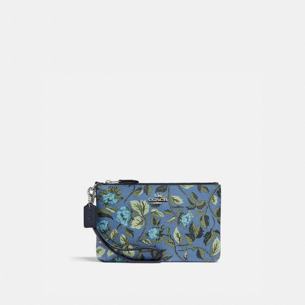 Coach Small Wristlet With Sleeping Rose Print