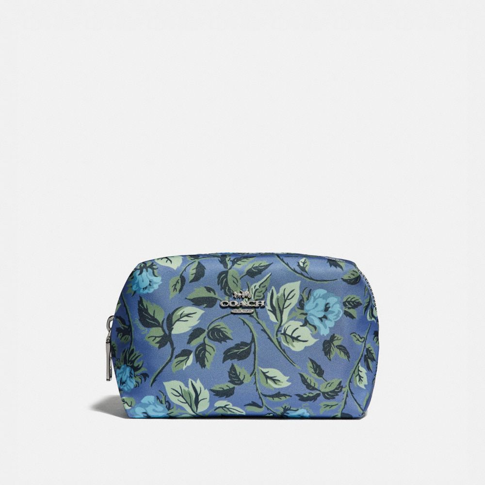 SMALL BOXY COSMETIC CASE WITH SLEEPING ROSE PRINT