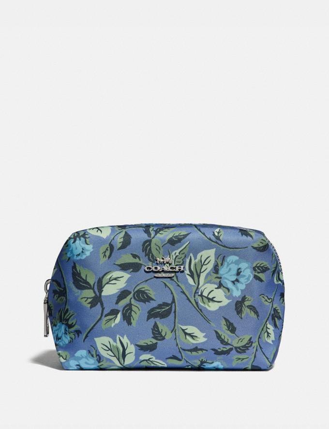Coach Small Boxy Cosmetic Case With Sleeping Rose Print Slate Sleeping Rose/Silver Women Accessories Cosmetic Cases