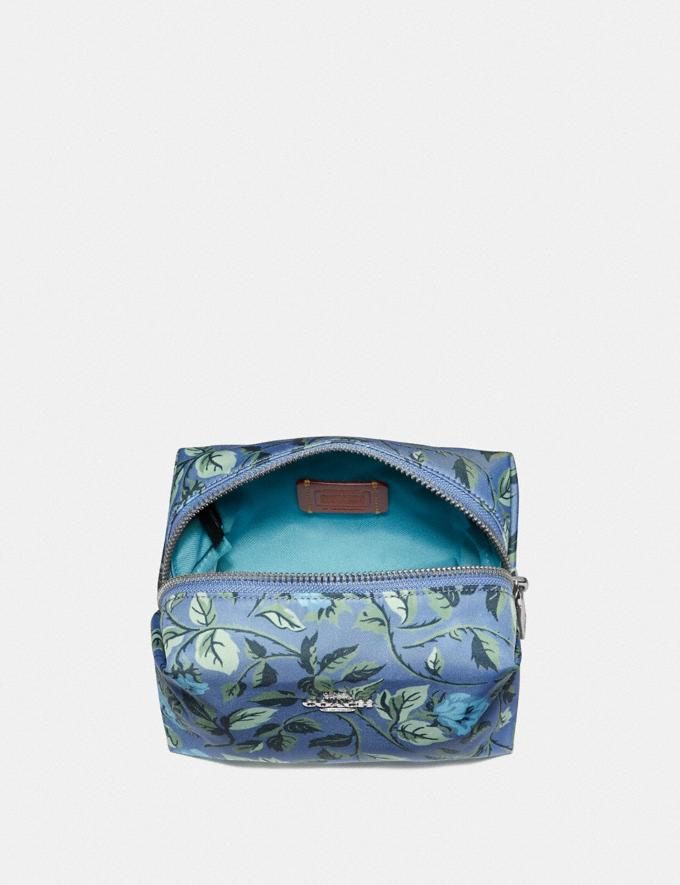Coach Small Boxy Cosmetic Case With Sleeping Rose Print Slate Sleeping Rose/Silver Women Accessories Cosmetic Cases Alternate View 2