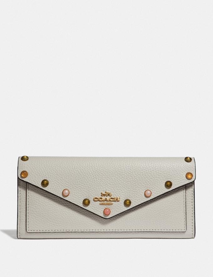 Coach Soft Wallet With Rivets Chalk/Gold New Women's New Arrivals Small Leather Goods