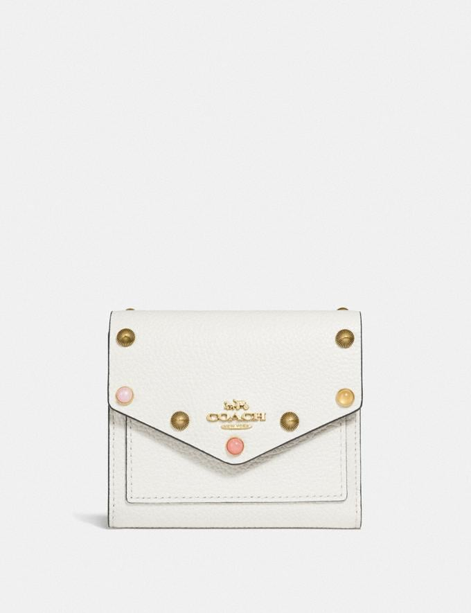 Coach Small Wallet With Rivets Chalk/Gold SALE Women's Sale 50% off