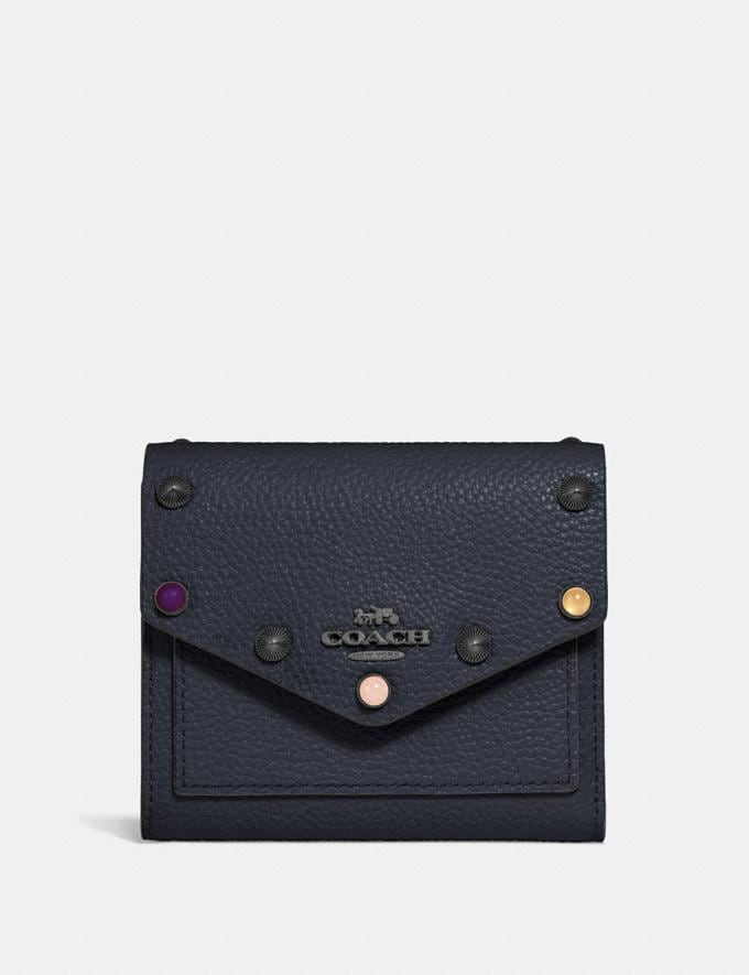 Coach Small Wallet With Rivets Midnight Navy/Gunmetal Women Wallets & Wristlets Small Wallets
