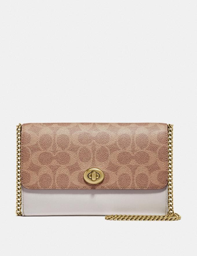 Coach Marlow Turnlock Chain Crossbody in Colorblock Signature Canvas Tan/Chalk/Brass Gifts For Her