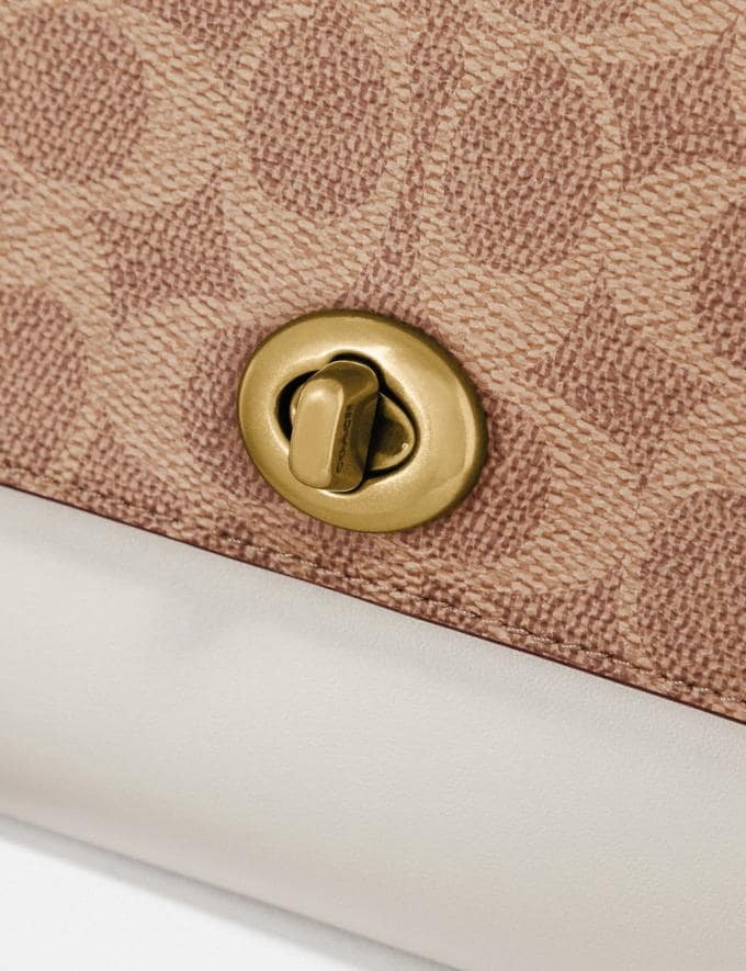 Coach Marlow Turnlock Chain Crossbody in Colorblock Signature Canvas Tan/Chalk/Brass Gifts For Her Alternate View 5