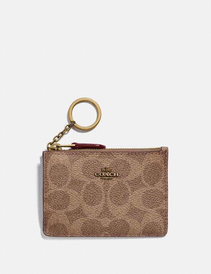 Coach Mini Skinny Id Case in Colorblock Signature Canvas Tan/Rust/Brass Women Wallets & Wristlets