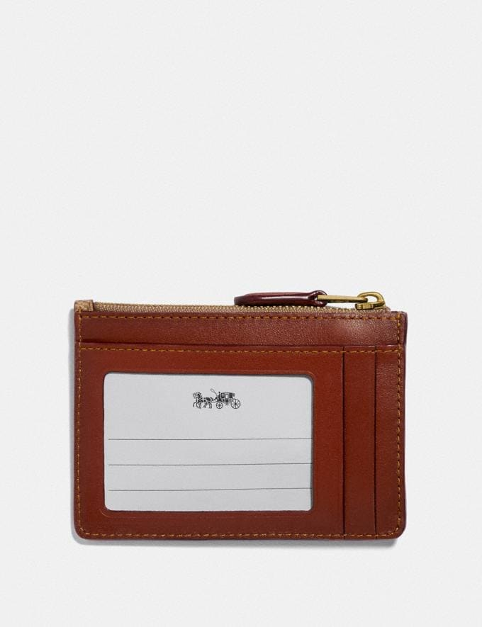 Coach Mini Skinny Id Case in Colorblock Signature Canvas Tan/Rust/Brass Women Small Leather Goods Small Wallets Alternate View 1