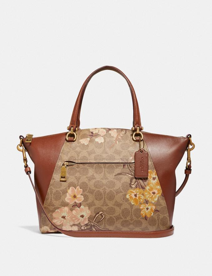 Coach Prairie Satchel in Signature Canvas With Prairie Floral Print Tan/Rust Bow/Brass Women Bags Satchels & Carryalls