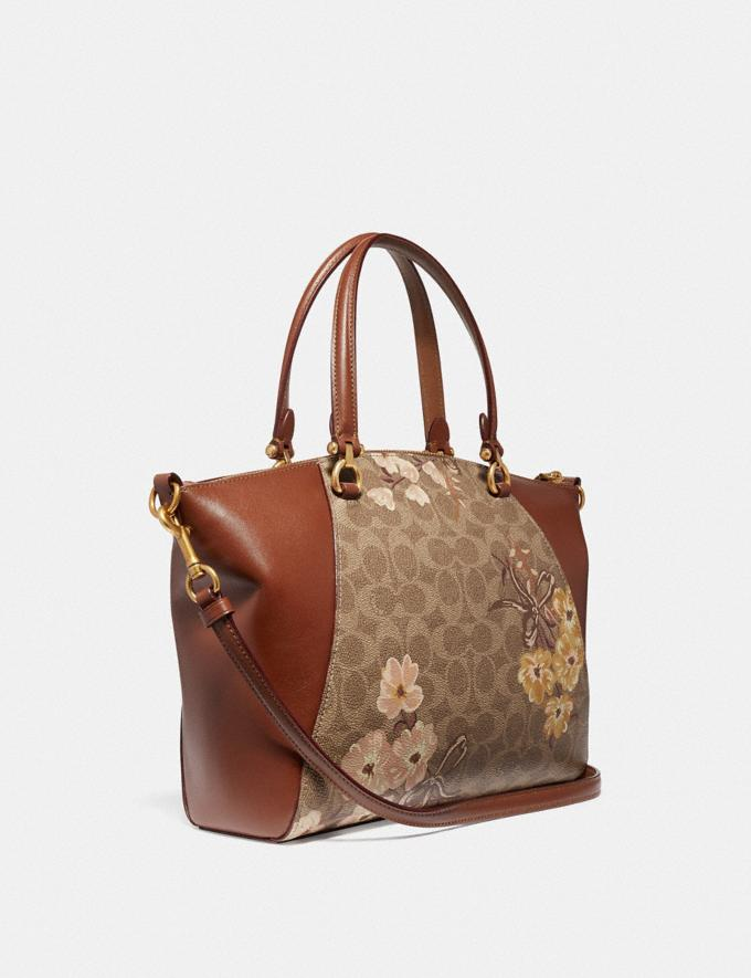 Coach Prairie Satchel in Signature Canvas With Prairie Floral Print Tan/Rust Bow/Brass Women Bags Satchels & Carryalls Alternate View 1