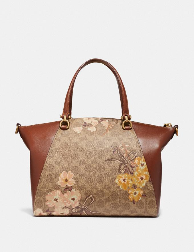 Coach Prairie Satchel in Signature Canvas With Prairie Floral Print Tan/Rust Bow/Brass Women Bags Satchels & Carryalls Alternate View 2