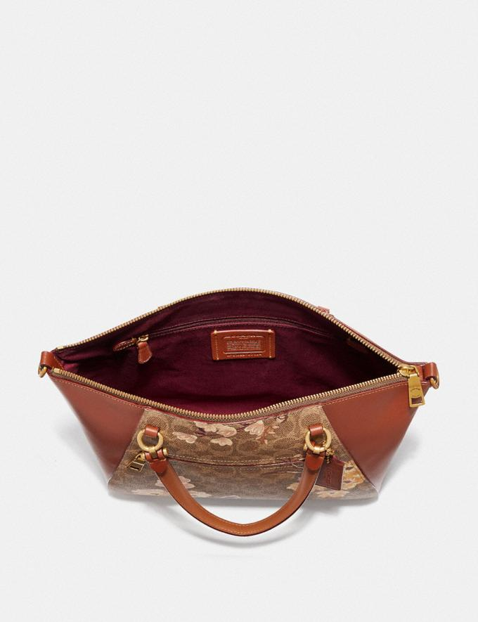 Coach Prairie Satchel in Signature Canvas With Prairie Floral Print Tan/Rust Bow/Brass Women Bags Satchels & Carryalls Alternate View 3
