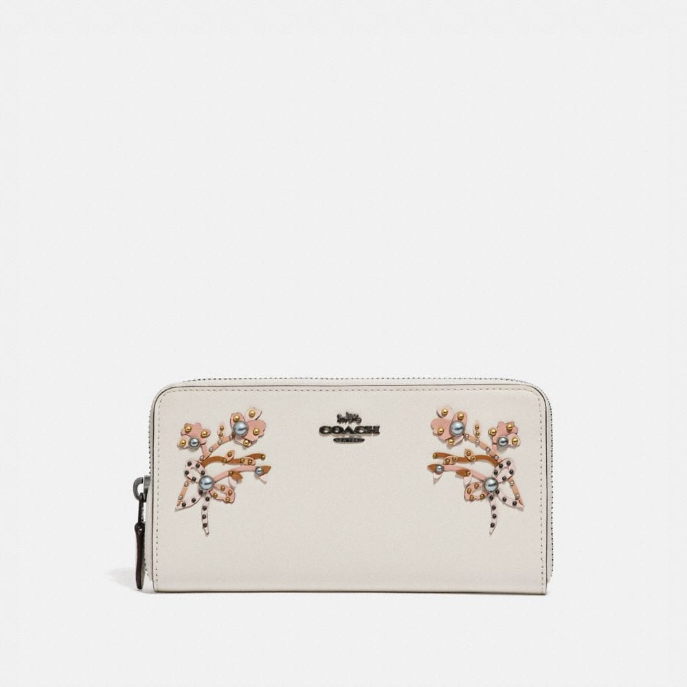 ACCORDION ZIP WALLET WITH FLORAL EMBROIDERY
