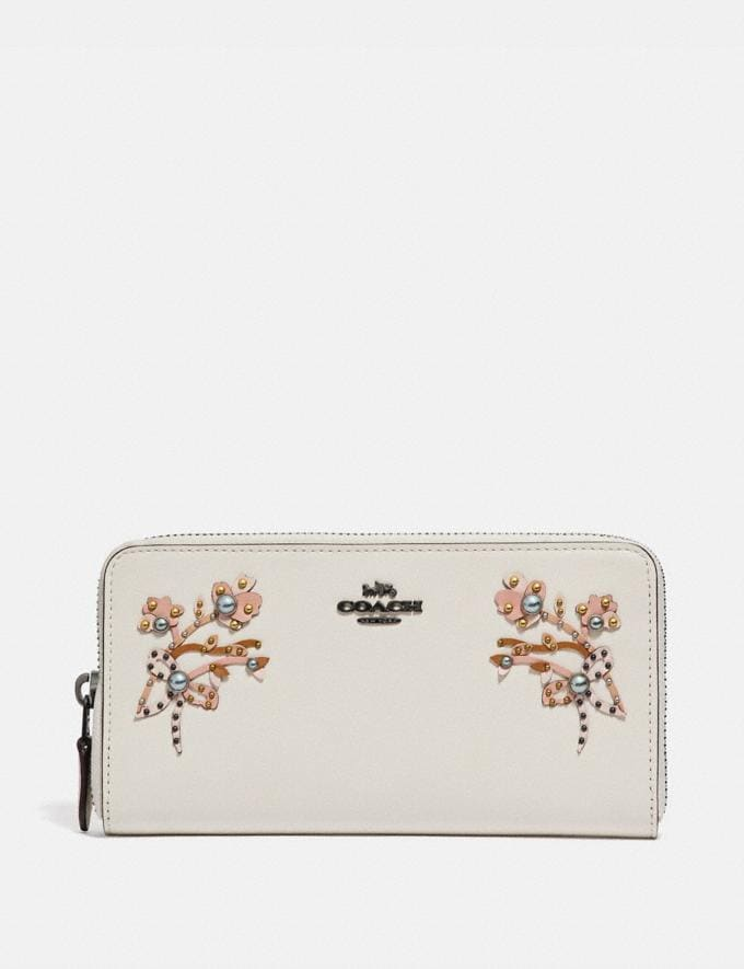 Coach Accordion Zip Wallet With Floral Embroidery Chalk/Pewter 30% off Select Full-Price Styles