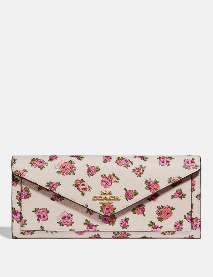Coach Soft Wallet With Mini Vintage Rose Print Chalk Mini Vintage Rose/Gold Women Small Leather Goods Large Wallets