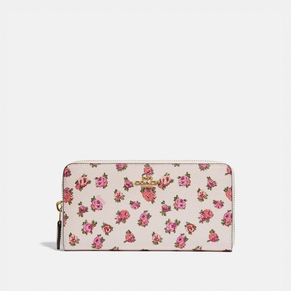 Coach ACCORDION ZIP WALLET WITH MINI VINTAGE ROSE PRINT