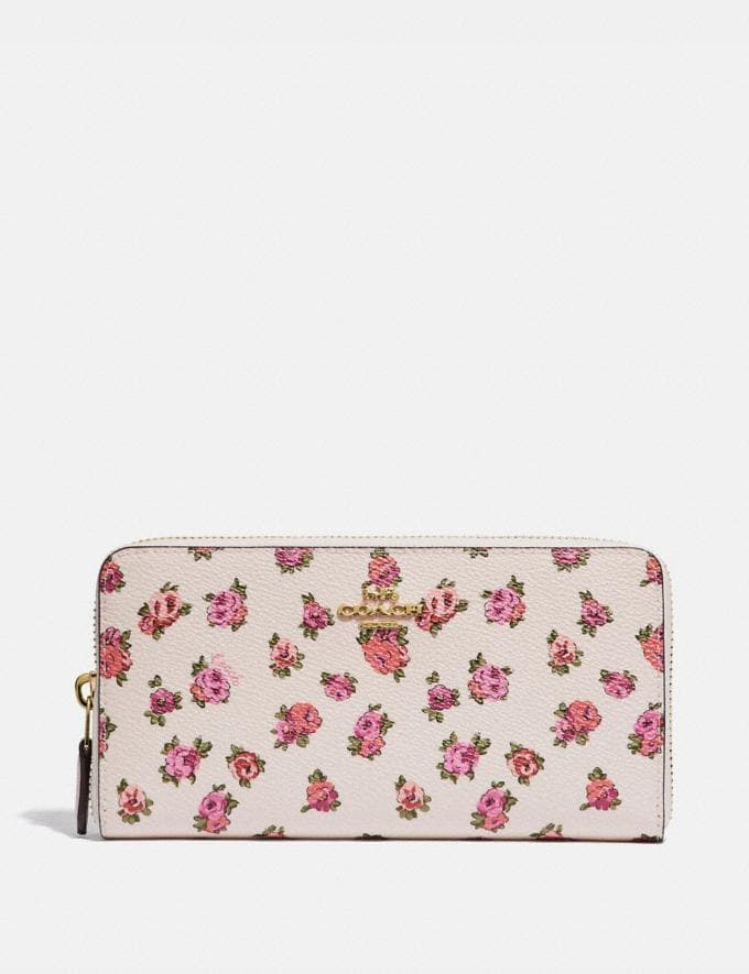 Coach Accordion Zip Wallet With Mini Vintage Rose Print Chalk Mini Vintage Rose/Gold Women Wallets & Wristlets Large Wallets