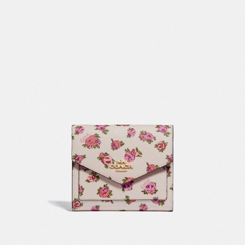 small wallet with mini vintage rose print