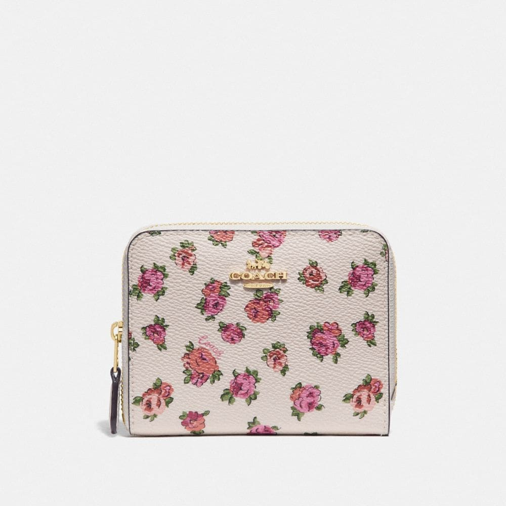 SMALL ZIP AROUND WALLET WITH MINI VINTAGE ROSE PRINT