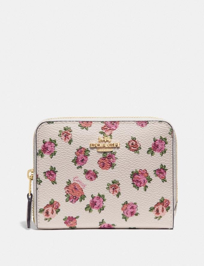 Coach Small Zip Around Wallet With Mini Vintage Rose Print Chalk Mini Vintage Rose/Gold Gifts For Her Under £250