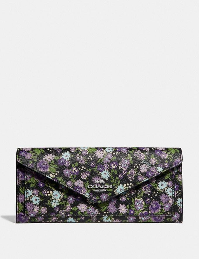 Coach Soft Wallet With Posey Print Black Posey Print/Silver Women Small Leather Goods Large Wallets