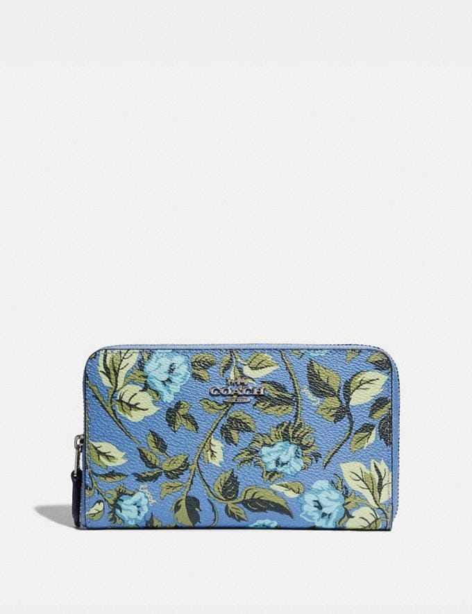 Coach Medium Zip Around Wallet With Sleeping Rose Print Slate Sleeping Rose/Silver 30% off Select Full-Price Styles