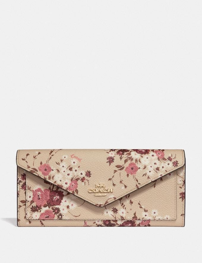 Coach Soft Wallet With Floral Bundle Print Beechwood Floral Bundle/Gold Women Small Leather Goods Large Wallets