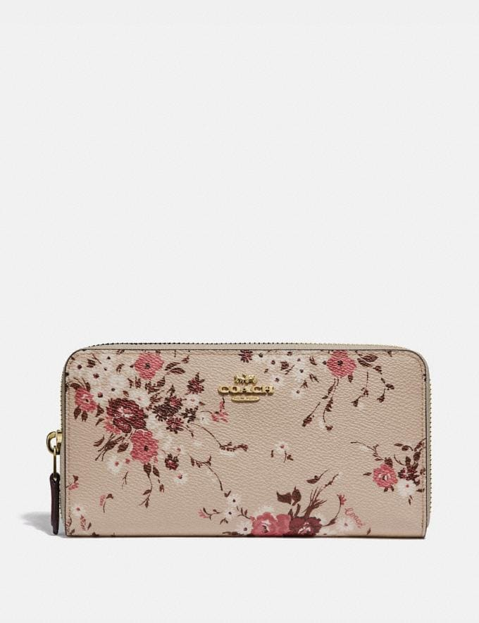 Coach Accordion Zip Wallet With Floral Bundle Print Beechwood Floral Bundle/Gold Women Small Leather Goods Large Wallets