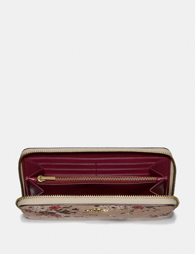 Coach Accordion Zip Wallet With Floral Bundle Print Beechwood Floral Bundle/Gold Women Small Leather Goods Large Wallets Alternate View 1