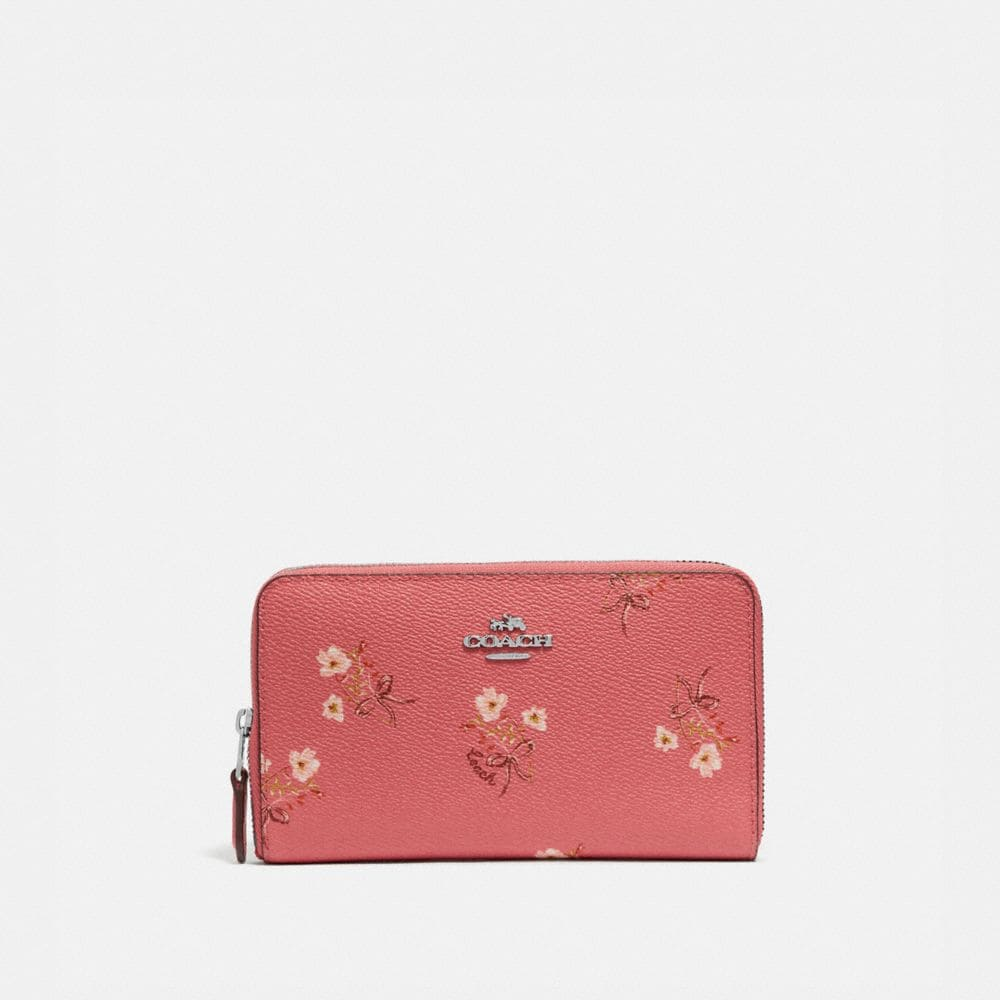 Coach MEDIUM ZIP AROUND WALLET WITH FLORAL BOW PRINT