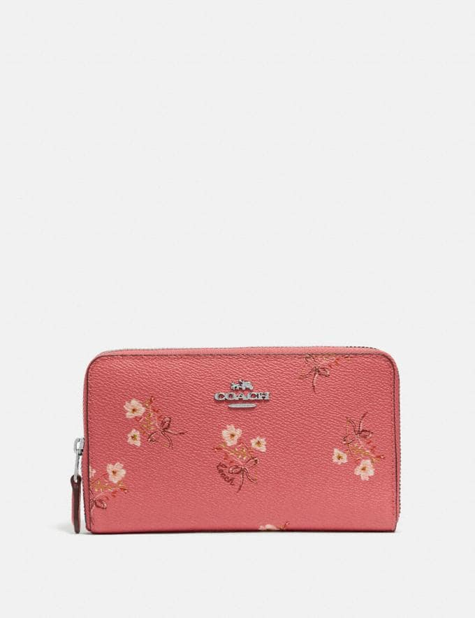 Coach Medium Zip Around Wallet With Floral Bow Print Bright Coral/Floral Bow/Silver Women Wallets & Wristlets Large Wallets