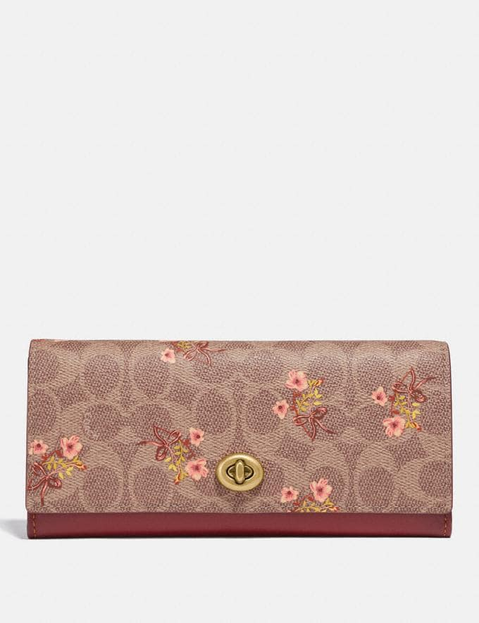 Envelope Wallet In Signature Canvas With Floral Bow Print Coach