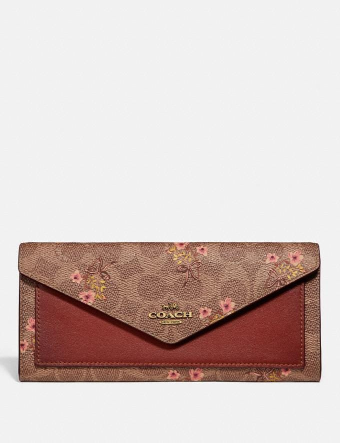 Coach Soft Wallet in Signature Canvas With Floral Print Tan/Brass New Featured Signature Styles