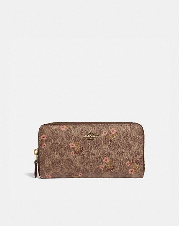 Coach ACCORDION ZIP WALLET IN SIGNATURE CANVAS WITH FLORAL BOW PRINT