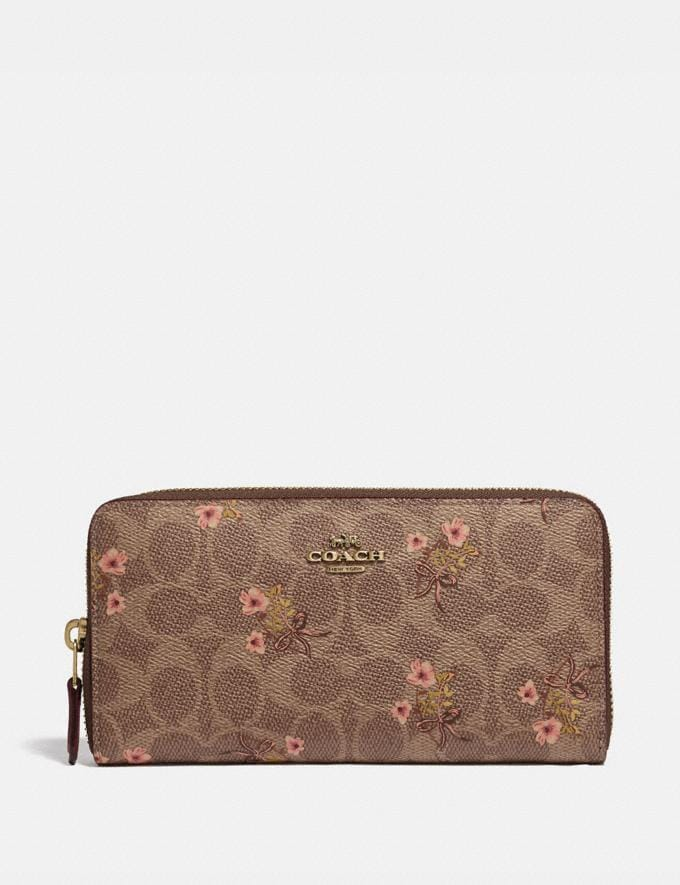 Coach Accordion Zip Wallet in Signature Canvas With Floral Bow Print Tan/Brass Women Small Leather Goods Large Wallets