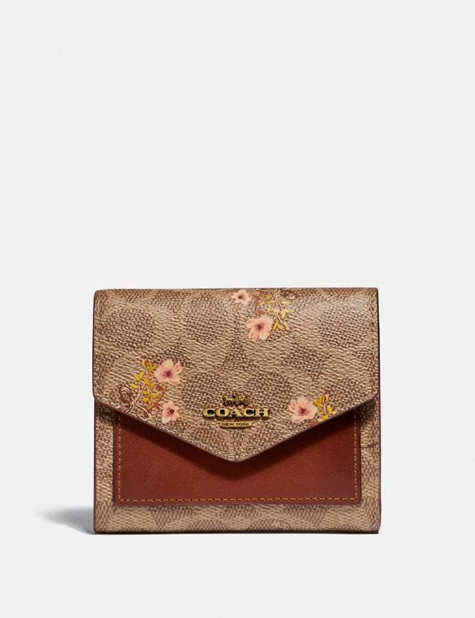 Coach Small Wallet in Signature Canvas With Floral Bow Print Tan/Brass