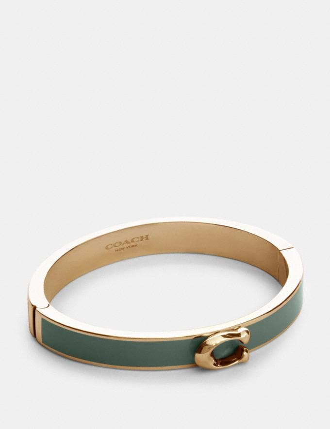 Coach Signature Push Hinged Bangle Gd/Washed Green