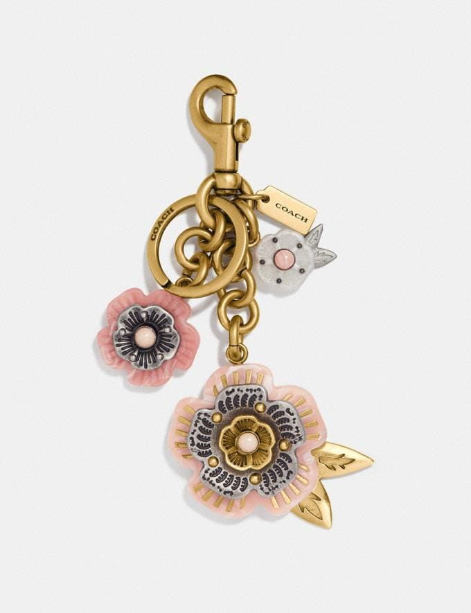 Coach Tea Rose Mix Bag Charm Light Coral/Brass Women Accessories Bag Charms & Key Rings