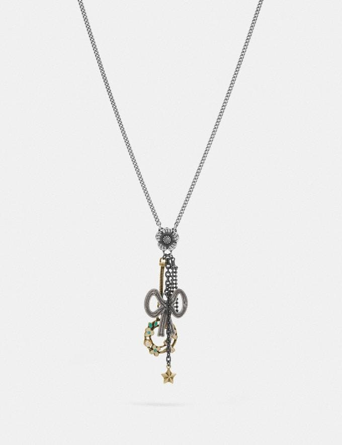 Coach Bow Charm Necklace Multi/Silver Women Accessories Jewelry