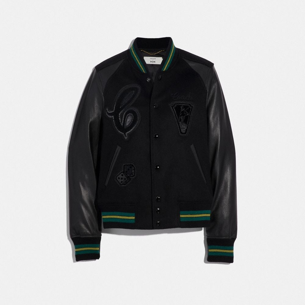viper room varsity jacket with patches