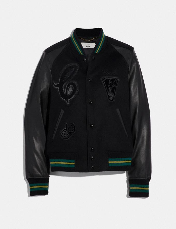 Coach Viper Room Varsity Jacket With Patches Black CYBER MONDAY SALE Women's Sale Ready-to-Wear