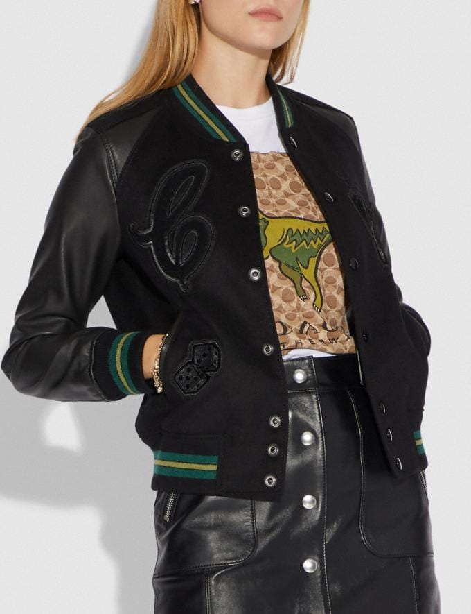 Coach Viper Room Varsity Jacket With Patches Black CYBER MONDAY SALE Women's Sale Ready-to-Wear Alternate View 1