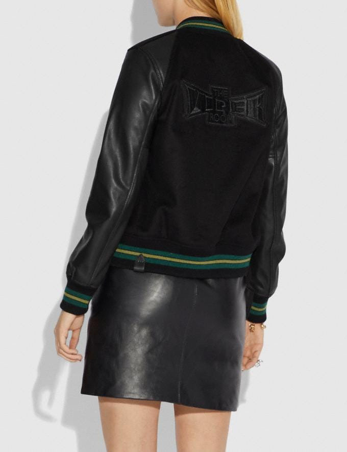 Coach Viper Room Varsity Jacket With Patches Black CYBER MONDAY SALE Women's Sale Ready-to-Wear Alternate View 2
