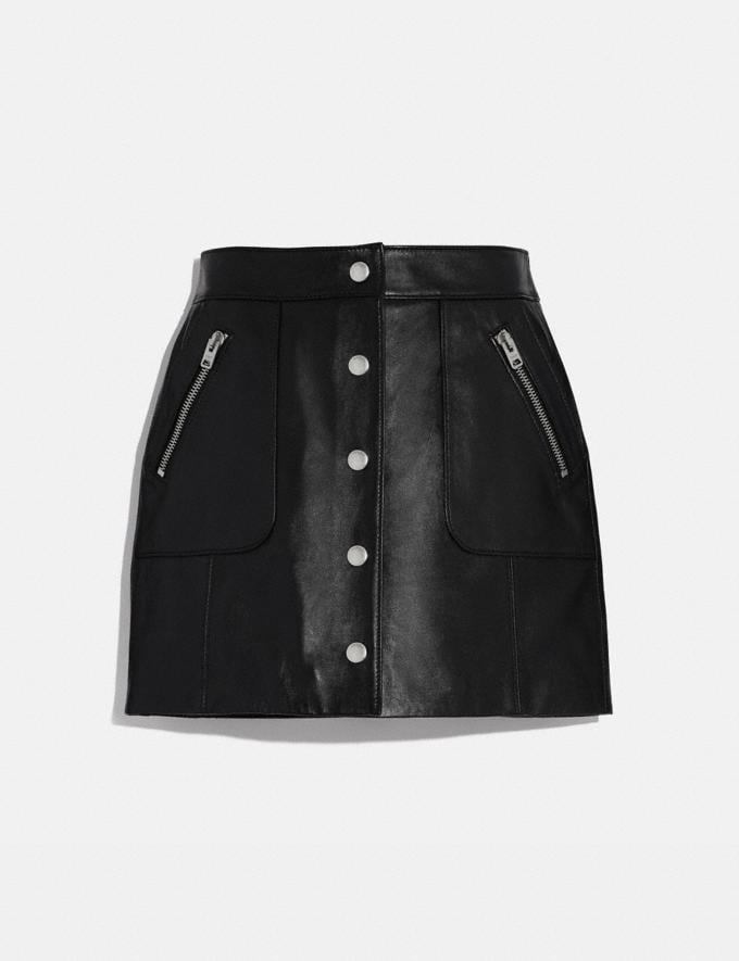 Coach Leather Mini Skirt Black